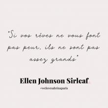 CITATION 💌 - « Si vos rêves ne vous font pas peur, ils ne sont pas assez grands » Ellen Johnson Sirleaf.⠀⠀⠀⠀⠀⠀⠀⠀⠀ Tous les mardis (oups mercredi) découvrez une citation de femme forte, une citation qui nous inspire, qui nous tire vers le haut, qui nous booste, qui nous fait sourire.⠀⠀⠀⠀⠀⠀⠀⠀⠀ -⠀⠀⠀⠀⠀⠀⠀⠀⠀ #mardicitation #welovesabrinaparis #femmeforte #ellenjohnsonsirleaf